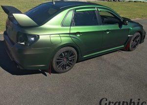 Subaru WRX wrapped in Avery ColorFlow Satin Urban Jungle Silver/Green vinyl