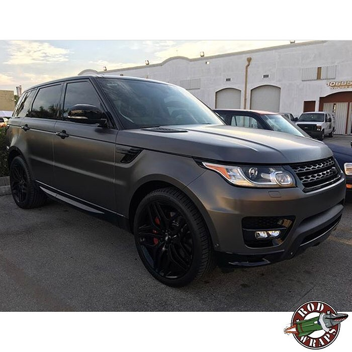 Range Rover wrapped in Satin Black vinyl