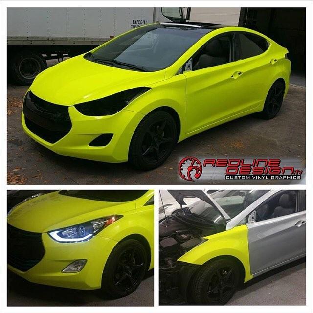 Hyundai Elantra wrapped in Fluorescent Satin Neon Yellow vinyl