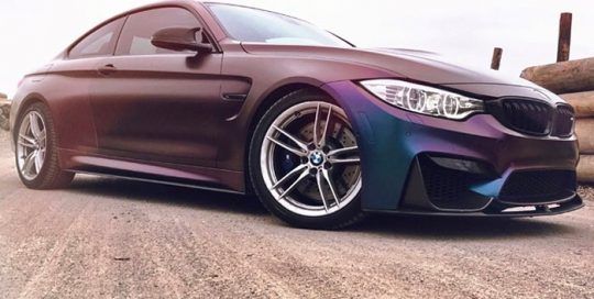 BMW M-4 wrapped in Avery SW ColorFlow Satin Rushing Riptide Cyan/Purple shade shifting vinyl