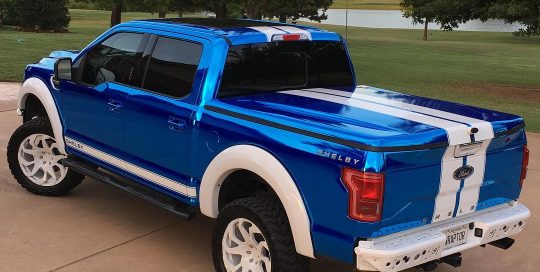 Shelby Ford-150 wrapped in Avery Blue Chrome vinyl