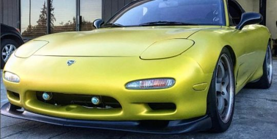 Mazda RX7 wrapped in Satin Bitter Yellow vinyl