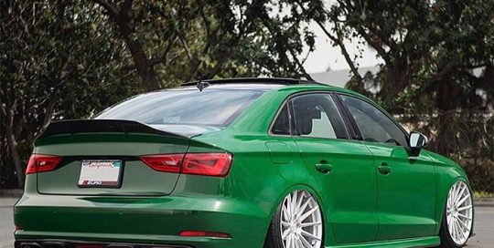 Audi RS3 wrapped in Avery SW Gloss Dark Green vinyl