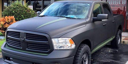 Ram Truck wrapped in Avery SW Matte Black vinyl