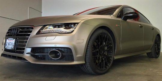 Audi A7 wrapped in Matte Gray Aluminum vinyl