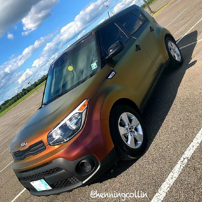 Kia Soul wrapped in Avery ColorFlow Satin Rising Sun Red/Gold shade shifting and Gloss Black vinyls