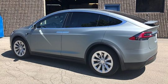 Tesla wrapped in Avery SW Matte Anthracite Metallic vinyl