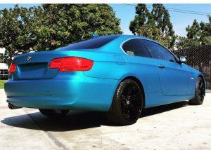 BMW 328ix wrapped in Avery SW Matte Lagoon Blue Metallic vinyl