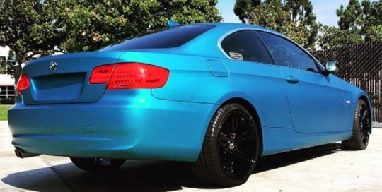 BMW 328ix wrapped in Avery SW Matte Lagoon Blue Metallic vinyl