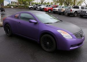 Nissan Altima wrapped in Avery SW Matte Purple Metallic and Matte Black vinyls