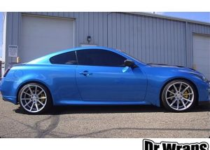 Infiniti G37 wrapped in Gloss Blue Metallic vinyl