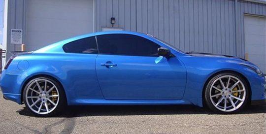 Infiniti G37 wrapped in Gloss Blue Metallic vinyl