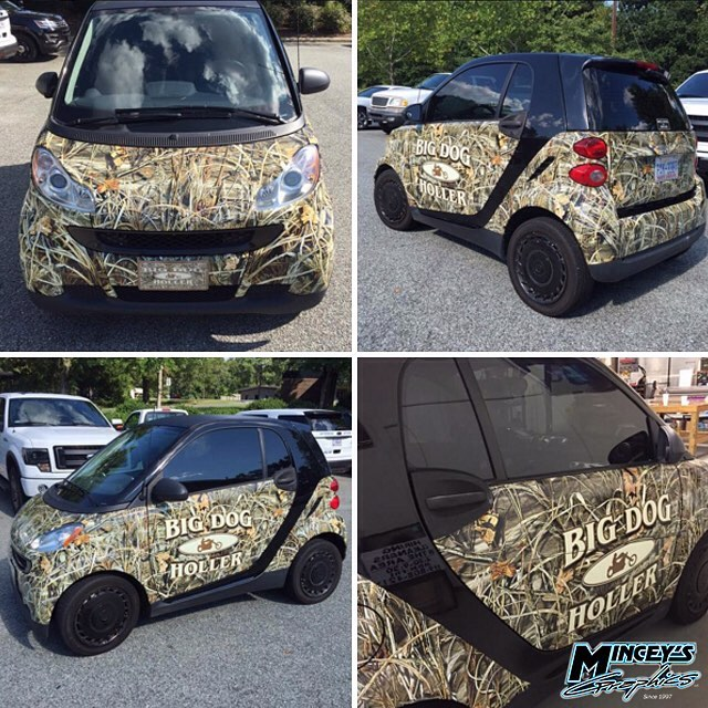 Smart Car wrapped in custom printed Camo Commercialwrap on 3M IJ180Cv3 vinyl