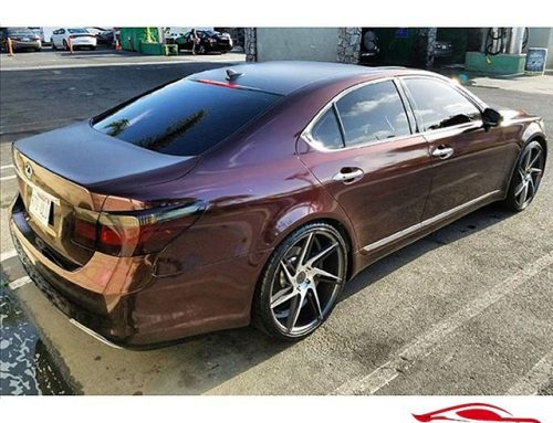 Lexus LS-450 wrapped in Black Rose vinyl