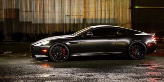 Astonmartin DB9 wrapped in Avery SW Satin Black vinyl