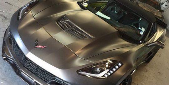 Corvette z06 wrapped in Avery SW Satin Pearl Nero vinyl
