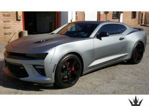 Chevrolet Camaro SS wrapped in Arlon UPP Matte Frozen Grey vinyl