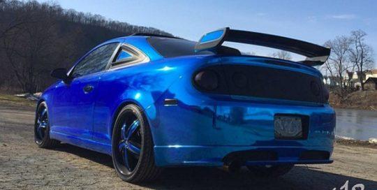 Chevrolet Cobalt wrapped in Avery SW Blue Chrome vinyl