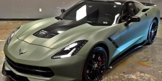 Chevy Corvette wrapped in Matte Military Green vinyl