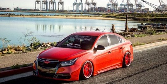 Chevy Cruze wrapped in Avery SW Gloss Diamond Red vinyl