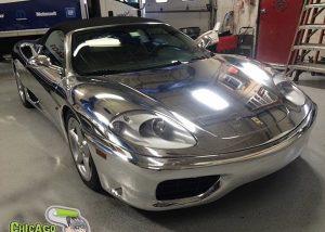 Ferrari 360 wrapped in Avery SW Chrome vinyl