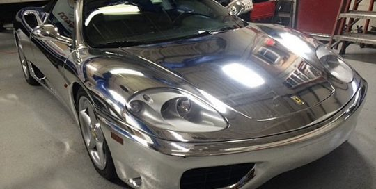 Ferrari 360 wrapped in Avery SW Chrome vinyl