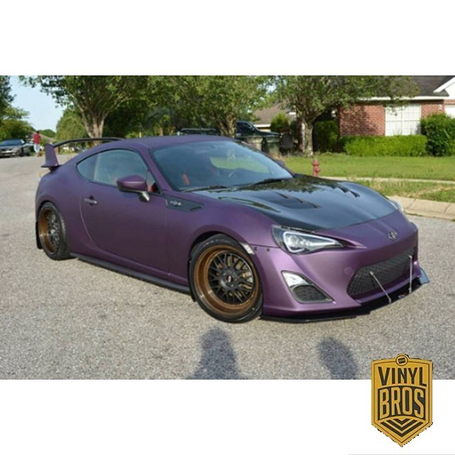 Scion FRS wrapped in Arlon UPP Matte Cyber Grape vinyl