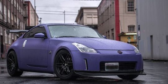 Nissan 370z wrapped in Matte Royal Purple vinyl