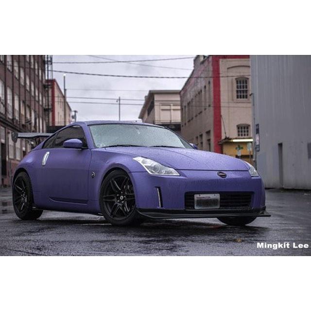 Nissan 370z wrapped in Matte Royal Purple vinyl