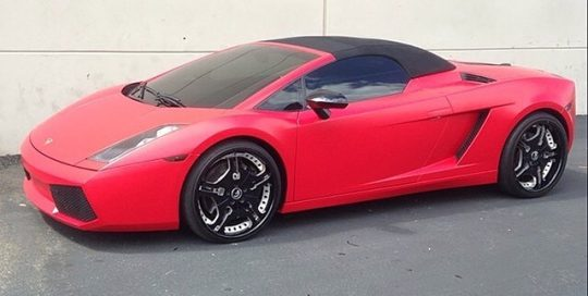 Lamborghini Gallardo wrapped in Avery SW Satin Carmine Red vinyl