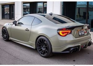 Scion FRS wrapped in Avery SW Satin Khaki Green vinyl