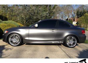 BMW M2 wrapped in Satin Dark Gray vinyl