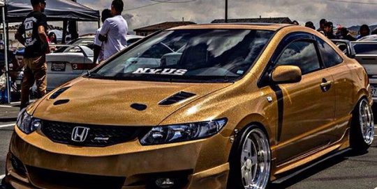 Honda Civic wrapped in Avery SW Diamond Amber vinyl