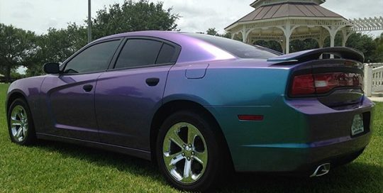 Dodge Charger wrapped in Orafol 970RA Shift Effect Turquoise/Lavender vinyl