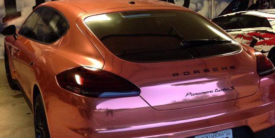 Porsche Panamera wrapped in the new Arlon UPP Chrome Copper vinyl