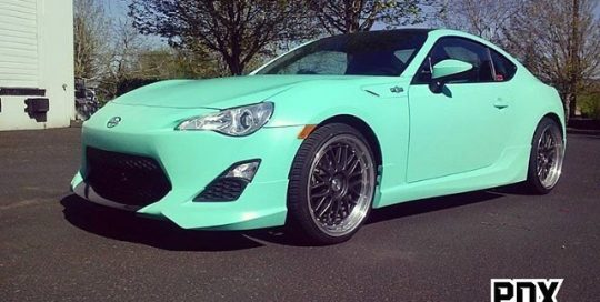 Scion FRS wrapped in Orafol 970RA Matte Mint vinyl
