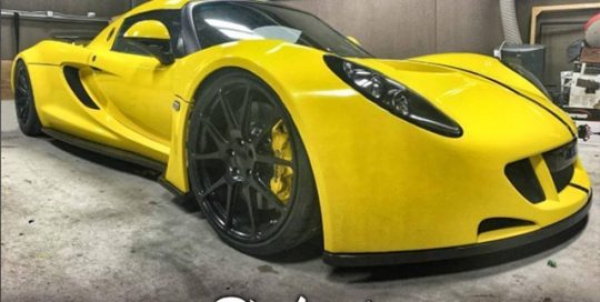 Hennessey Venom Gt Spider wrapped in Gloss Bright Yellow vinyl