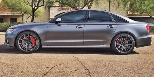 Audi S6 wrapped in Satin Dark Gray vinyl