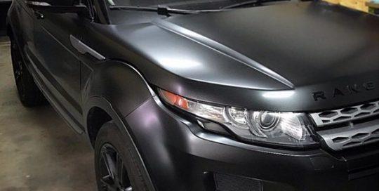 Range Rover wrapped in Satin Black vinyl