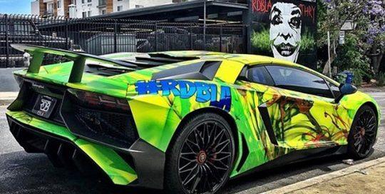 Lamborghini Aventador wrapped in custom printed 3M 1080 Satin Fluorescent Neon Yellow vinyl