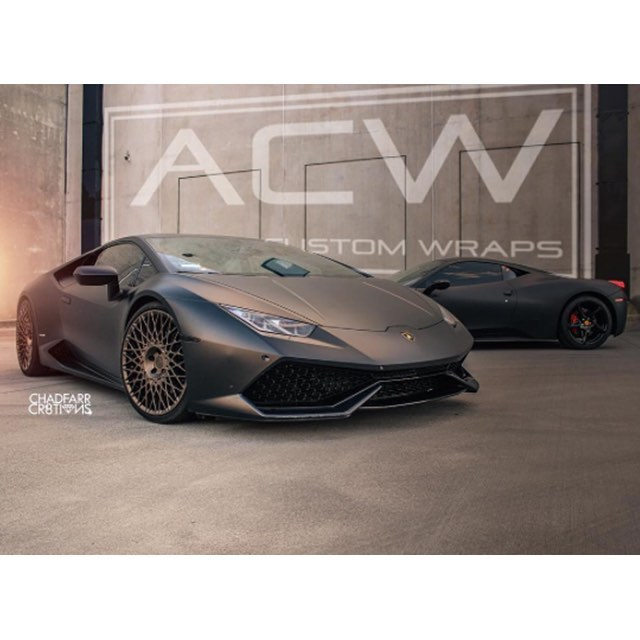 Lamborghini Huracan 458 Italia wrapped in Matte Deep Black vinyl