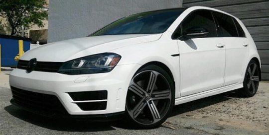 VW Golf GTI wrapped in Matte White vinyl
