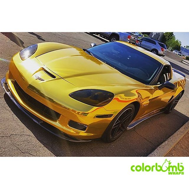 Chevy Corvette z06 wrapped in Avery Gold Chrome