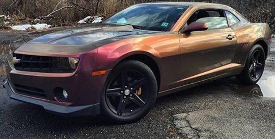 Chevy Camaro wrapped in Orafol 970RA Shift Effect Gloss Aubergine/Bronze vinyl