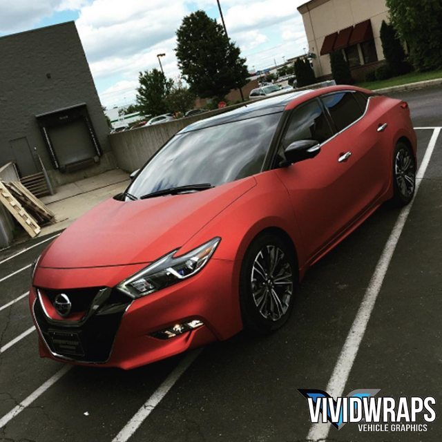 Nissan Maxima Wrapped In Arlon Upp Red Aluminum Vinyl