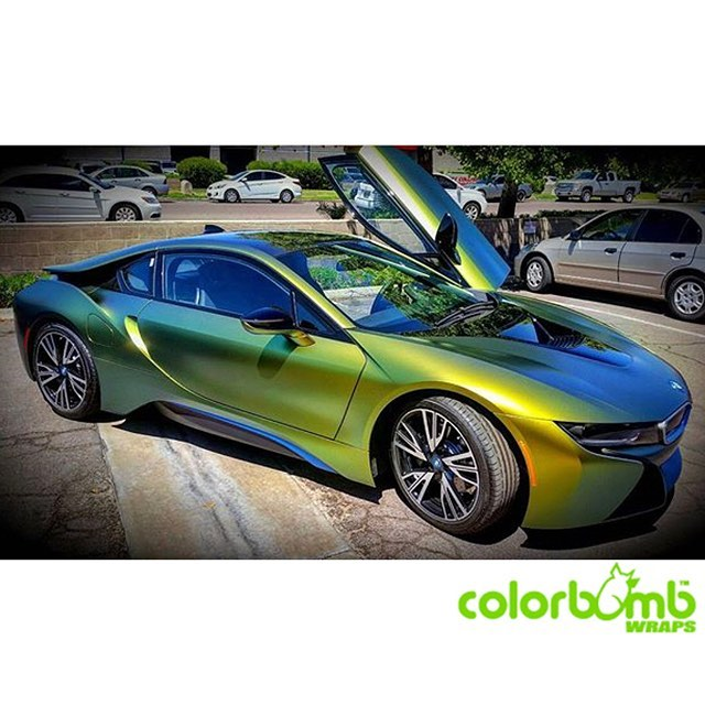 BMW I8 wrapped in Avery's new ColorFlow Satin Fresh Spring Gold/Silver shade shifting vinyl