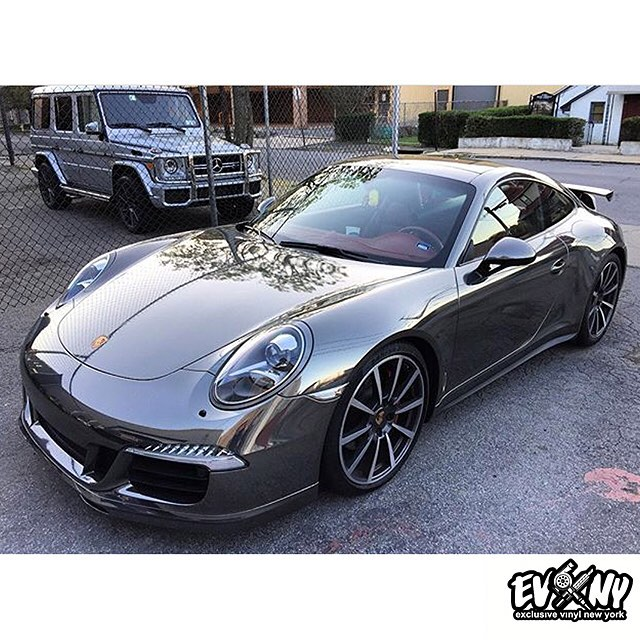 Porsche 911 Turbo wrapped in Avery SW Black Chrome vinyl