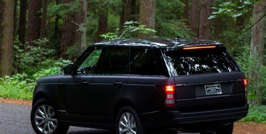 Range Rover wrapped in Matte Deep Black vinyl