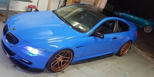 BMW M-6 wrapped in Avery SW Gloss Intense Blue vinyl