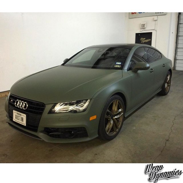 Audi A7 Wrapped In Matte Military Green Vinyl